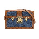【台中米蘭站】全新品 Louis Vuitton Trunk clutch 丹寧拼接牛皮斜背包( M55047-咖/藍)
