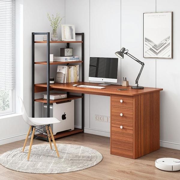 簡易電腦台式桌家用簡約租房一體桌書桌書架組合臥室辦公桌學生桌 ATF 夏季狂歡