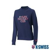 K-SWISS Round Sweat Shirts 圓領長袖上衣-女-藍