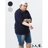 【男人幫大尺碼】T7810*台灣製造高磅純色素面精梳棉加口袋五分袖T恤4色