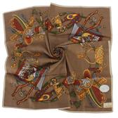 TRUSSARDI 皇家回憶錄混棉帕巾(咖啡色)989045-42