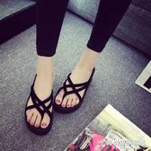 夏季新款韓版時尚外穿厚底坡跟松糕防滑女式夾角人字沙灘涼拖鞋潮 時尚芭莎