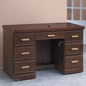 【水晶晶家具/傢俱首選】CX1458-14 浮雕胡桃127公分七抽連環鎖實木書桌