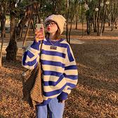 針織毛衣 針織衫寬松加厚圓領條紋針織衫外穿套頭毛衣女MB085-B依品國際