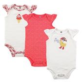 Luvable Friends 活肩式蝴蝶袖包屁衣三件組 白鴨子 | 女寶寶連身衣(嬰幼兒/兒童/小孩)