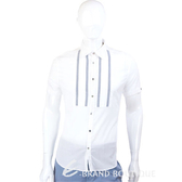 KENZO 灰線條短袖襯衫(白色) 0810370-48