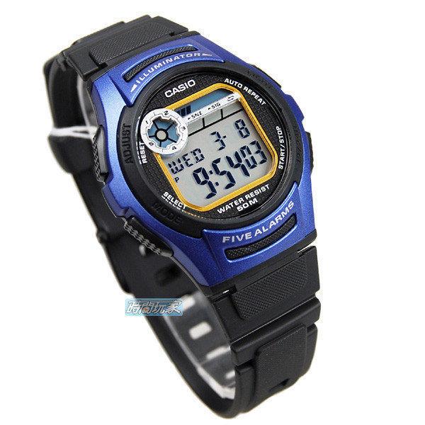 CASIO卡西歐 W-213-2A 電子錶 藍色 計時碼錶世界時間38mm女錶男錶中性錶 W-213-2AVDF 防水運動手錶