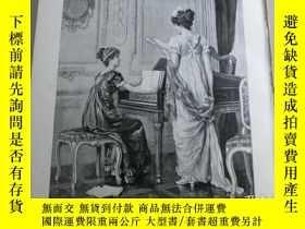 二手書博民逛書店【罕見】1890年木刻版畫《試唱》( Eine Probe)尺寸