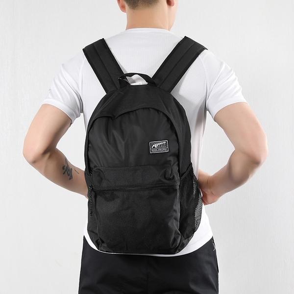 PUMA CADEMY BACKPACK 全黑 小Logo 素面 書包 後背包 (布魯克林) 07573301