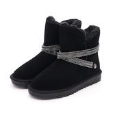MICHELLE PARK 閃耀魅力防水2WAY 水鑽閃亮環帶雪靴黑色