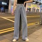 牛仔褲 牛仔褲女直筒寬鬆寬管褲高腰褲子顯...