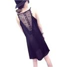 吊帶裙 夏裝新款背後性感蕾絲顯瘦中長款吊帶背心裙緞感背心打底衫女