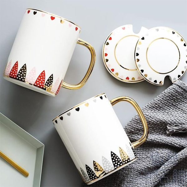 陶瓷馬克杯情侶簡約水杯茶杯咖啡杯杯子帶蓋【極簡生活】