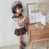 *╮S13小衣衫╭*秋冬英倫風娃娃領長袖上衣格子短裙套裝1080912