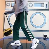 夏裝韓版三條杠原宿風寬鬆男女學生哈倫褲直筒褲運動休閒條紋褲子