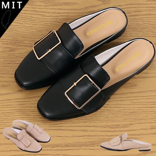 女款 質感方型金屬扣飾 前包後空拖鞋 穆勒鞋 休閒拖鞋 低跟拖鞋 懶人拖鞋 MIT製造 AC
