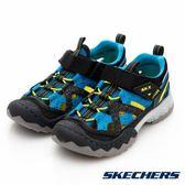 Skechers WHIPSAW 黑x藍x萊姆綠 中大童 運動包涼鞋 NO.R2795