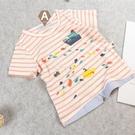女童短T 橘粉條紋短T,95/100/105【WB0011】