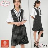 洋裝MIT抗菌除臭背心黑白點點洋裝OL綁帶魚尾連身裙LIYO理優-專利系列E816003