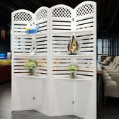 屏風 折屏簡約現代臥室屏風隔斷玄關時尚客廳雕花折疊帶置物架田園屏風xw
