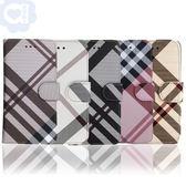 Apple iPhone 7/iPhone 8 共用 英倫格紋氣質手機皮套 側掀磁扣支架式皮套 矽膠軟殼 5色可選