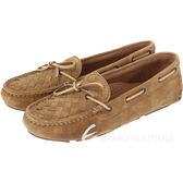 BOTTEGA VENETA 麂皮編織綁帶莫卡辛鞋(棕色) 1510380-B3