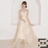 宴會晚禮服裙女仙氣質韓版公主長款連身裙洋裝【左岸男裝】