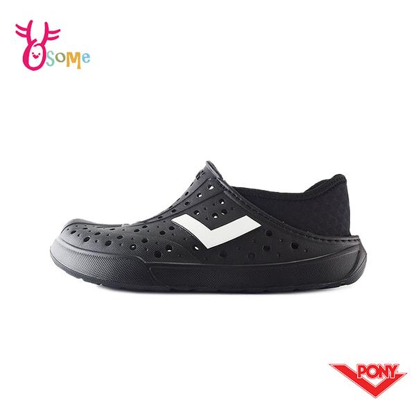 PONY水鞋 男鞋 女鞋 洞洞鞋 可踩後跟 基本款 懶人鞋 水陸鞋 快乾 透氣 軟底 M9461#黑色◆奧森