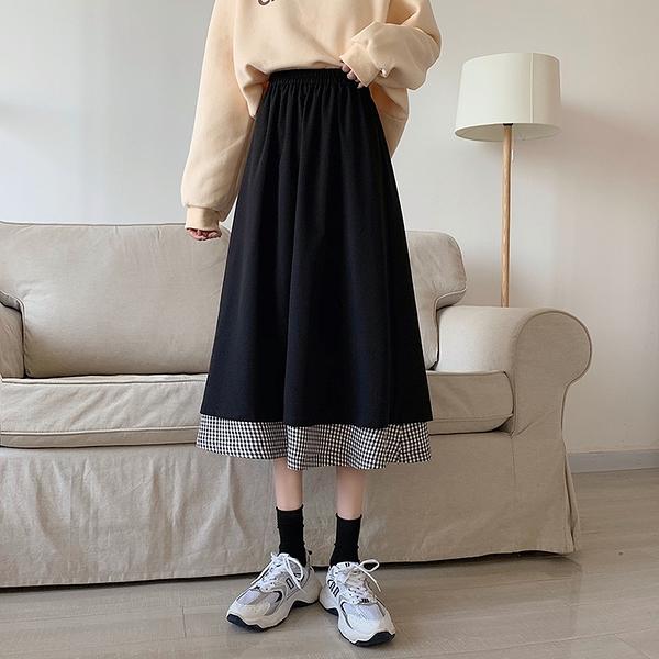 現貨特價# 直銷雙層設計感百搭格子拼接黑色純色傘裙垂感半身裙中長裙女