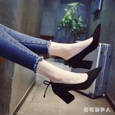 粗跟高跟鞋 高跟鞋2018新款女百搭仙女時尚粗跟單鞋中跟cx514【棉花糖伊人】