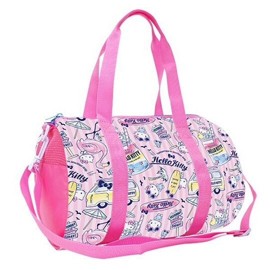 〔小禮堂〕Hello Kitty 尼龍圓筒手提袋行李袋《粉.紅鶴滿版》斜背袋.運動背袋 4513576-08209