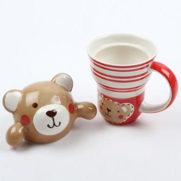 HOLA Home 小熊造型蓋杯230ml 紅色