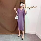 蝙蝠袖洋裝-皺褶高彈力V領條紋開叉女連身裙4色73yf9[時尚巴黎]