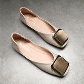春夏季平底方頭單鞋女淺口軟底平跟豆豆鞋圓扣復古軟皮舒適奶奶鞋   (橙子精品)