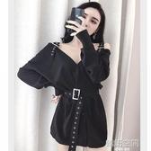 裙子女2020新款洋氣氣質性感女裝V領長袖露肩夜店修身顯瘦洋裝 韓語空間