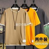 2件裝】夏季男士短袖t恤潮流修身100%純棉衣服新款體恤男夏裝 快速出貨