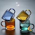 雙層玻璃馬克杯耐高溫早餐杯藍色水杯咖啡杯【創世紀生活館】