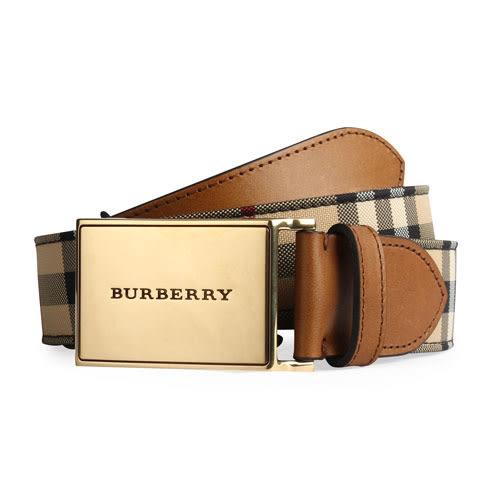 BURBERRY HORSEFERRY 經典格紋皮革鏡面金屬扣皮帶(棕褐色)089604-1