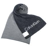 CalvinKlein CK雙拼色條紋圍巾(黑色)103214
