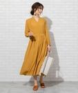 腰線接縫缺口領長版洋裝 日本品牌【coe...