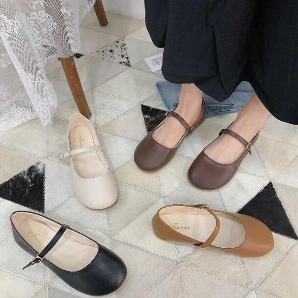 娃娃鞋 韓系英倫風復古平底百搭瑪麗珍包頭鞋 花漾小姐【現貨】