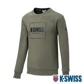 K-SWISS Square Logo Sweatshirt刷毛圓領上衣-男-軍綠
