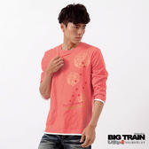 BIG TRAIN 七分袖雷神櫻花家徽T恤-男-灰粉