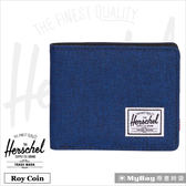 Herschel 皮夾 單寧布藍 可放零錢款短夾 Roy PL-1335 MyBag得意時袋