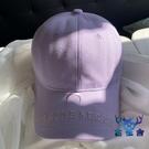 刺繡淡紫色鴨舌帽女百搭棒球帽學生街頭遮陽鴨舌帽【古怪舍】