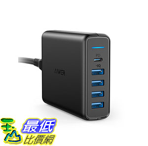[107美國直購] 適配器 USB Type-C Anker AK-A2056111 Premium 5-Port 60W USB Wall Charger PowerPort I with 1 Power
