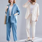 網紅小西裝外套女2019秋季新款正韓大碼寬鬆休閒仿亞麻西服兩件套