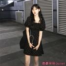 雪紡洋裝 夏季新款茶歇桔梗裙法式黑色復古方領泡泡袖雪紡碎花洋裝女-Ballet朵朵