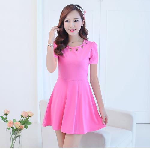 春夏新款韓版女裝大碼時尚氣質修身顯瘦鏤空衣領連衣裙 0067H 彼得麗絲