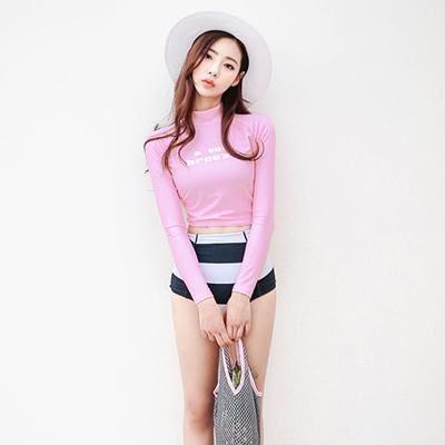 JE 粉色兩件式長袖衝浪高腰 泳裝溫泉泳衣比基尼 【559A】